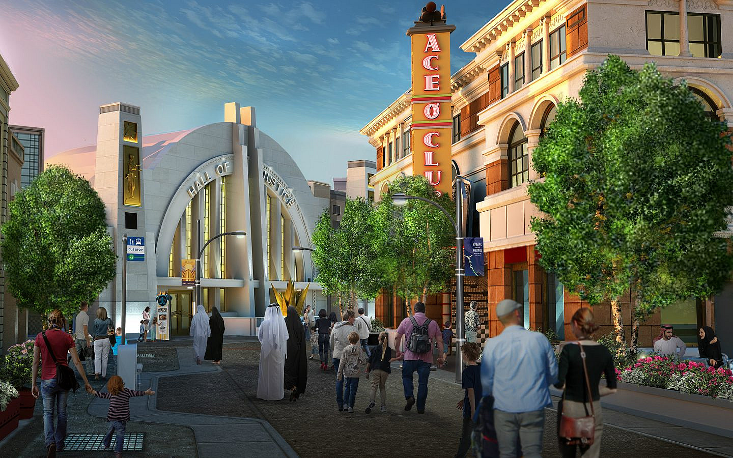 Metropolis in het Warner Bros World pretpark in Abu Dhabi